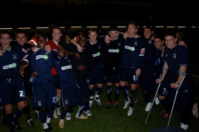 Celebration time - Southend United show their joy after beating Manchester United