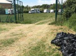 Pitched up - travellers and caravans have remained on the site for 12 days