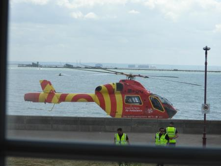 Air ambulance spotted landing on Southend seafront this afternoon