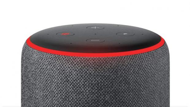 Echo: A red light ring means the Echo's microphones are turned off, and Alexa can't hear your conversations. Credit: Amazon
