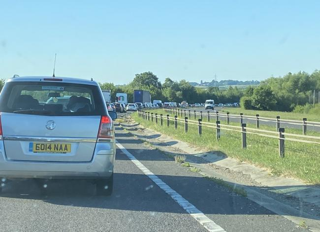 Queues - the A130 has been closed after crash involving cars and motorbike. Picture: Mark Topps