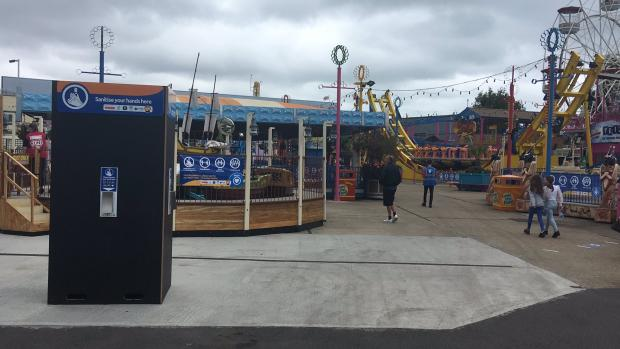 Echo: Sanitiser stations at Adventure Island