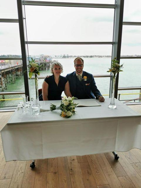 Married - Ryan and Melonie Philips after tying the knot at Southend Pier on Saturday