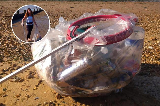 Worrying - Sally Lands (inset) picked up more than 4kg of rubbish from Southend's beaches