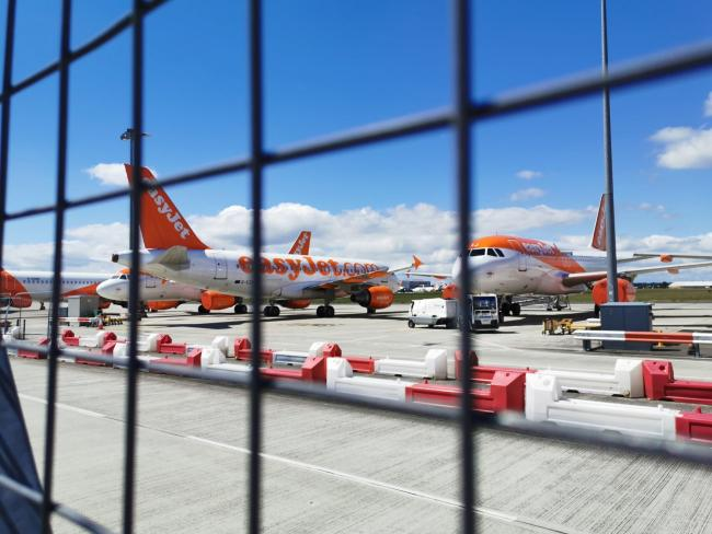 Blow - grounded Easyjet planes at Southend Airport