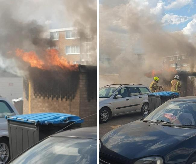 The shed on fire in Benfleet