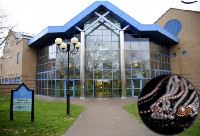 Basildon Crown Court. Inset: Jewellery stock image