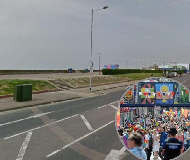 Incident - the seafront and inset a pride parade