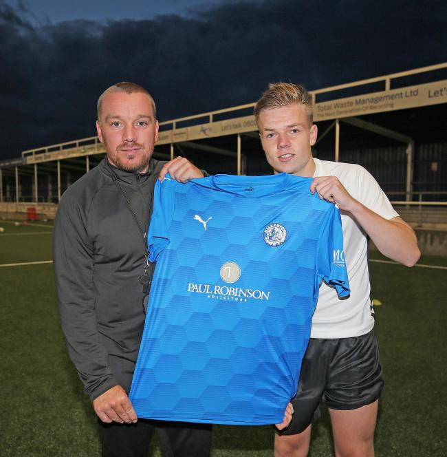 New signing - Billericay Town manager Jamie O'Hara with new signing Jake Nickless  Pictures: NICKY HAYES