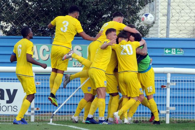 Get in there - Concord Rangers celebrate Alex Wall's winning goal