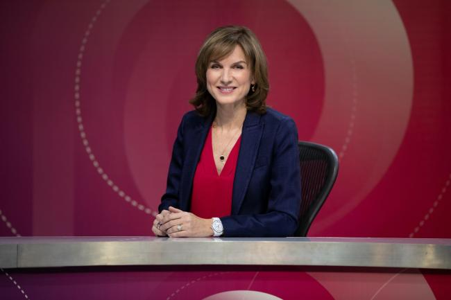 Fiona Bruce on the set of Question Time (