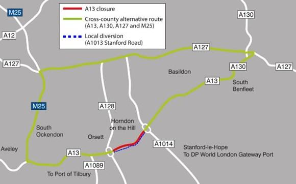 Partial closures to the A13 from today