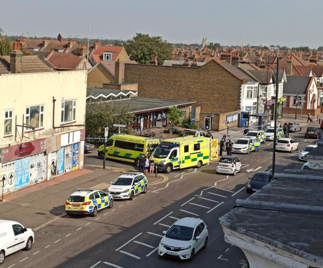 Attack - Police cars and ambulances attending the scene near Fleetwood Avenue in Westcliff