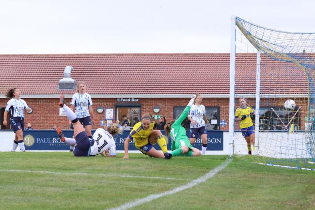 Excited - Hashtag United's Maddie Thomas cannot wait to face Billericay Town tonight   Picture: Hashtagwomensfootball.com