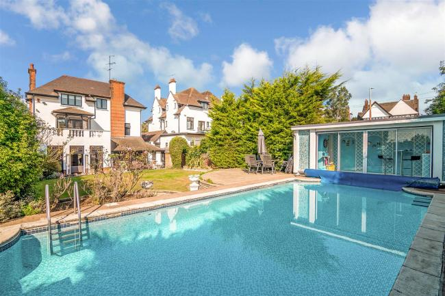 Making a splash - the Westcliff home, on the market for offers over £1.6million, boasts its own swimming pool