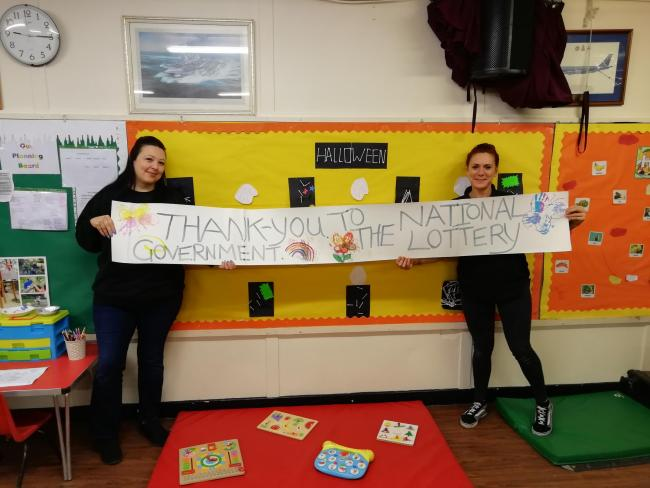 Grateful - Ring O' Roses Pre-School manager Kelly-Anne Ing (left)
