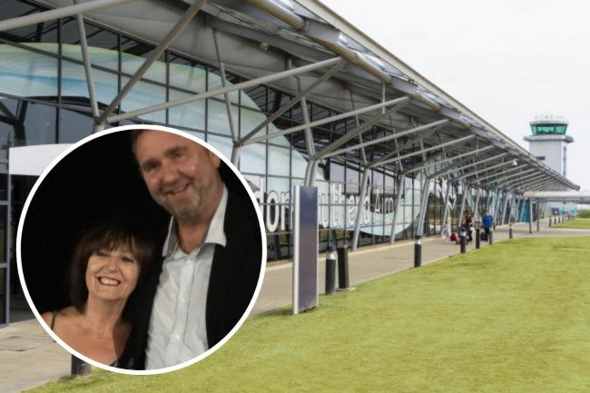 Unbearable - Southend Airport. Inset: June and Alex