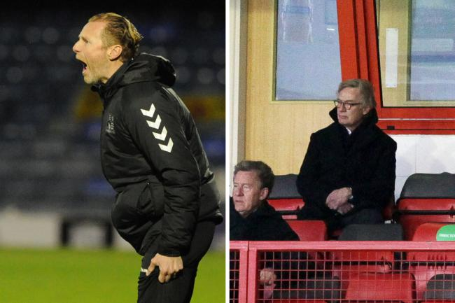 Looking to bring in a striker - Blues boss Mark Molesley (left) and chairman Ron Martin (right) have held talks with a forward