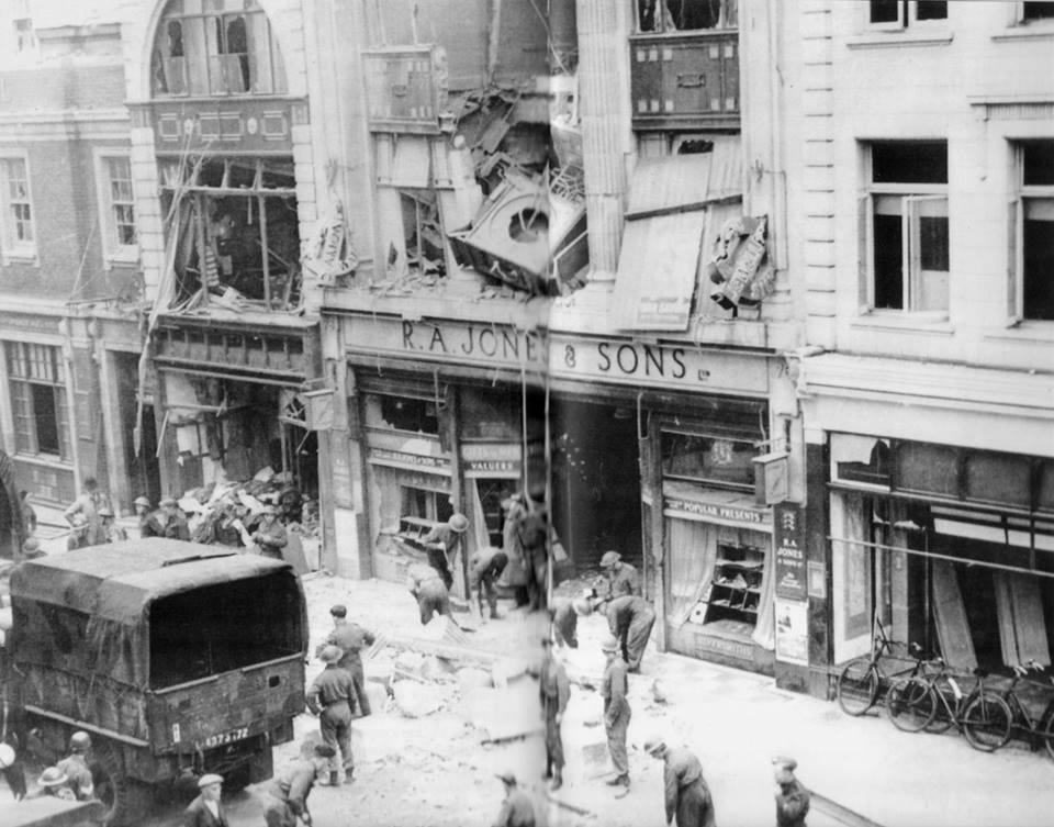 Bombed - the scene after R A Jones was struck during the Second World War