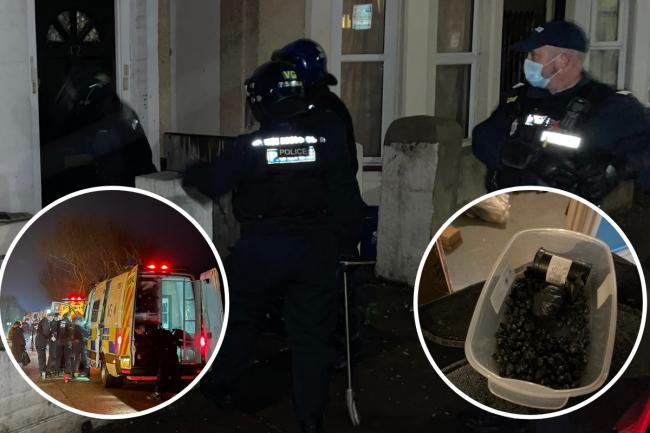 Raids - officers at the homes and seized drugs