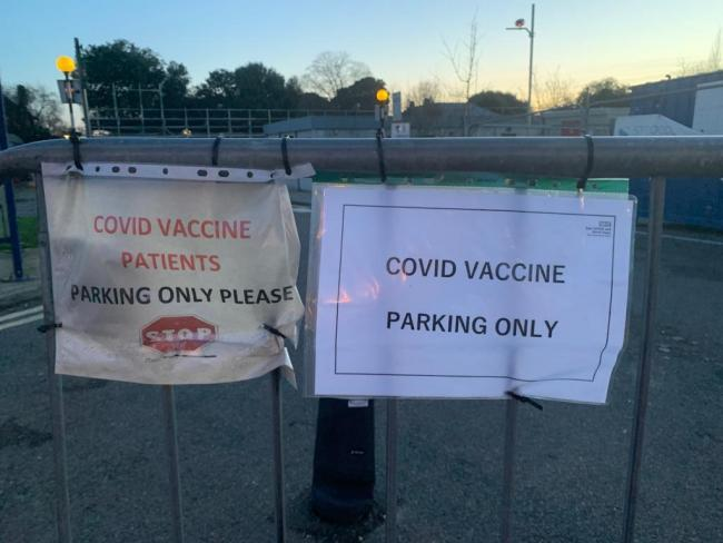 Covid vaccination parking area