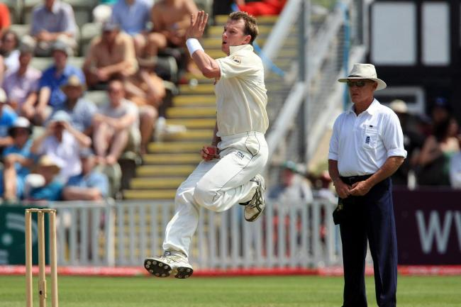 Australia fast bowler Brett Lee in action