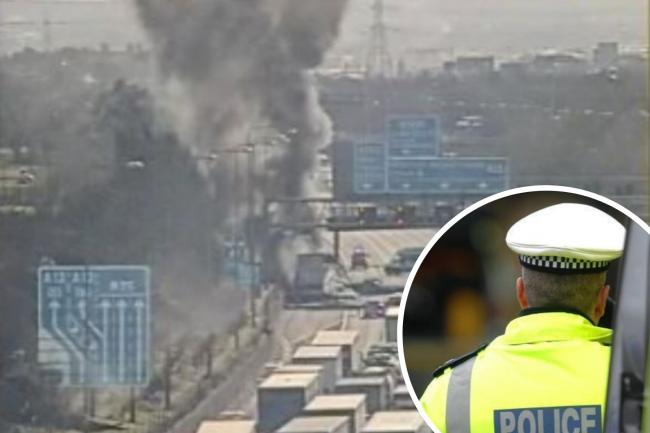 Police issue warning after lorry fire shuts M25