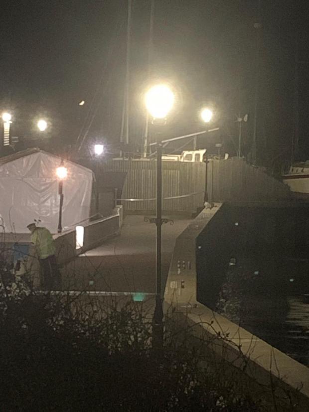 Echo: The crime scene last night. Picture: Ron Sverdloff