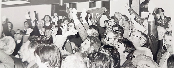 Jumping for joy - Labour Party members celebrate taking control of Basildon Council in 1982