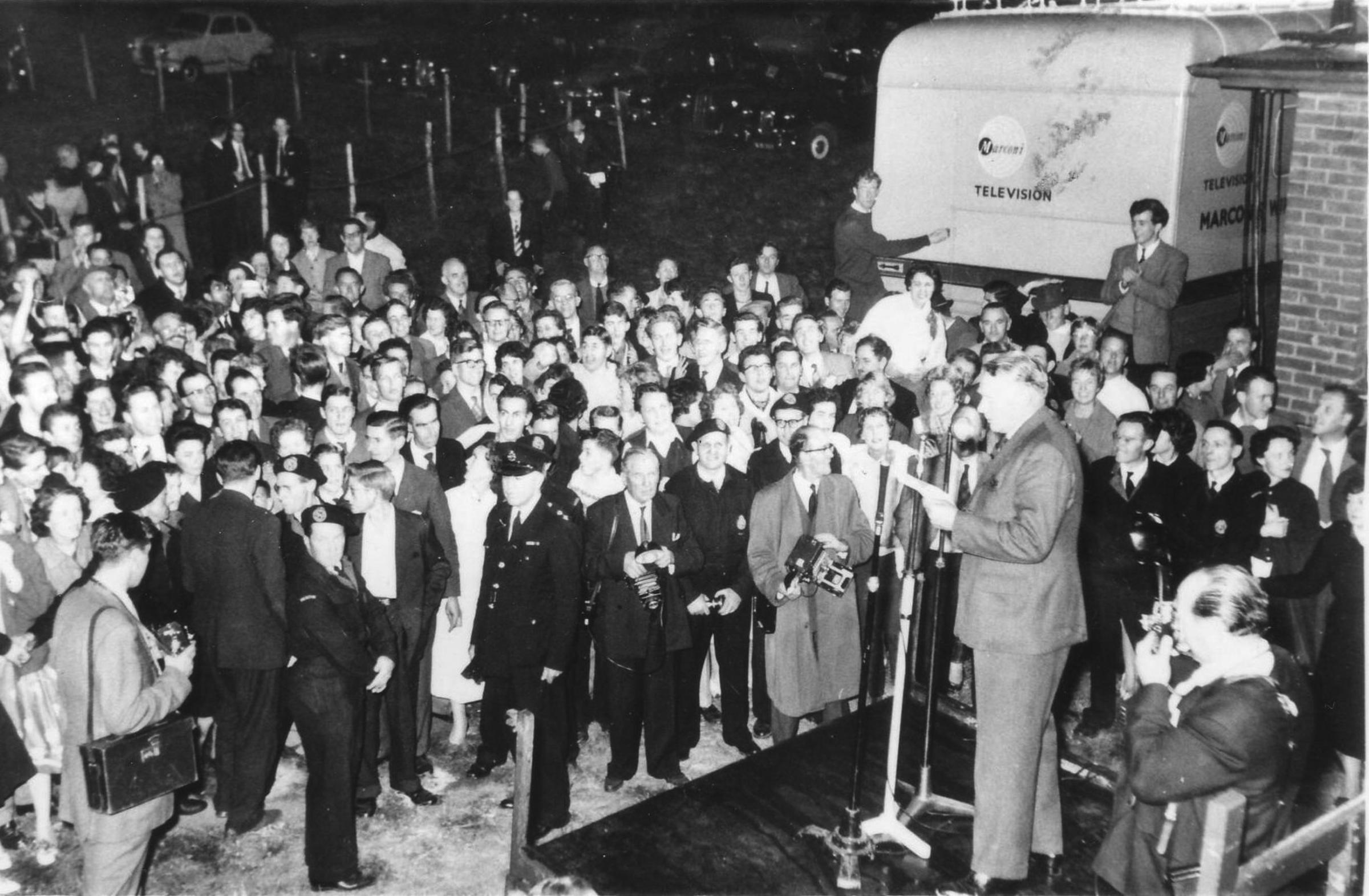 Crowds gather - the 1959 election results are read out in Billericay