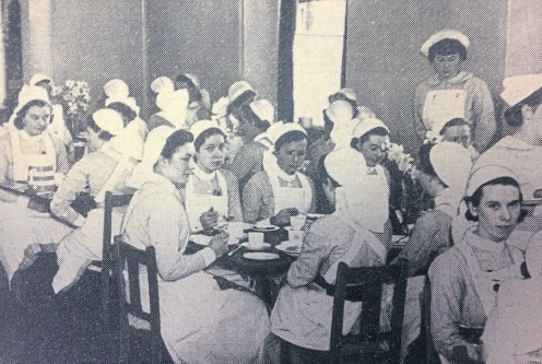 Breakfast - nurses tuck into cornflakes and oranges at 6.45am