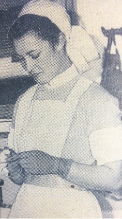 Youngster - Stella Batchelor cleans surgical instruments in 1939