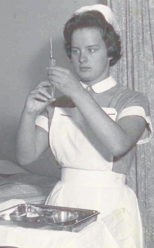 Needle - a Southend Hospital nurse preparing to inject a patient close to 80 years ago