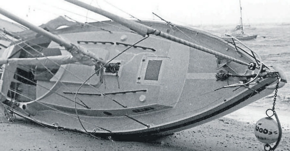 Beached - yachts were blown ashore at Thorpe Bay as a result of the hurricane force winds