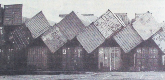 Toppled like dominoes - huge containers were unable to withstand the winds at Tilbury Docks