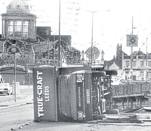 Hit hard - a truck is left on its side while lights and benches felt the effects on Southend seafront