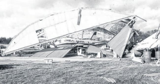 Out of sorts - planes were damaged when the hangar fell at Southend Airport