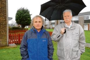 Concerns – councillors Dave Blackwell and John Anderson, near the hostel