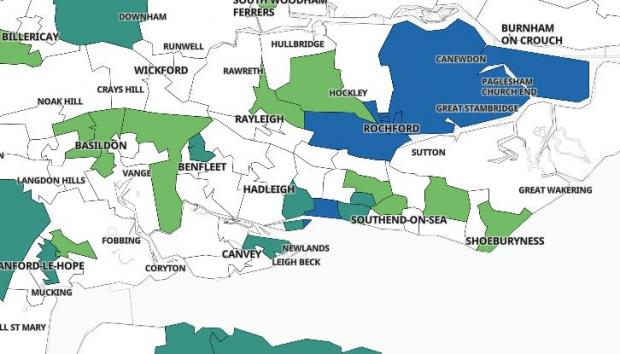 Echo: Only three areas marked in blue are recording infection rates above 100