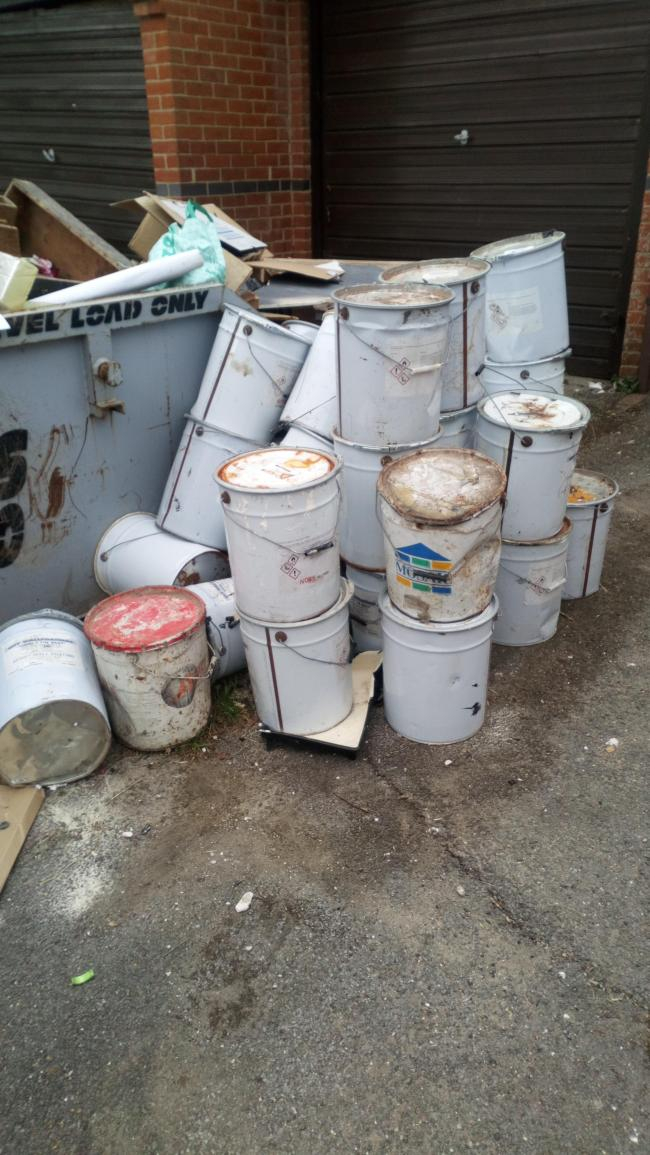 Paint drums that were dumped in Colne Avenue, Shoebury