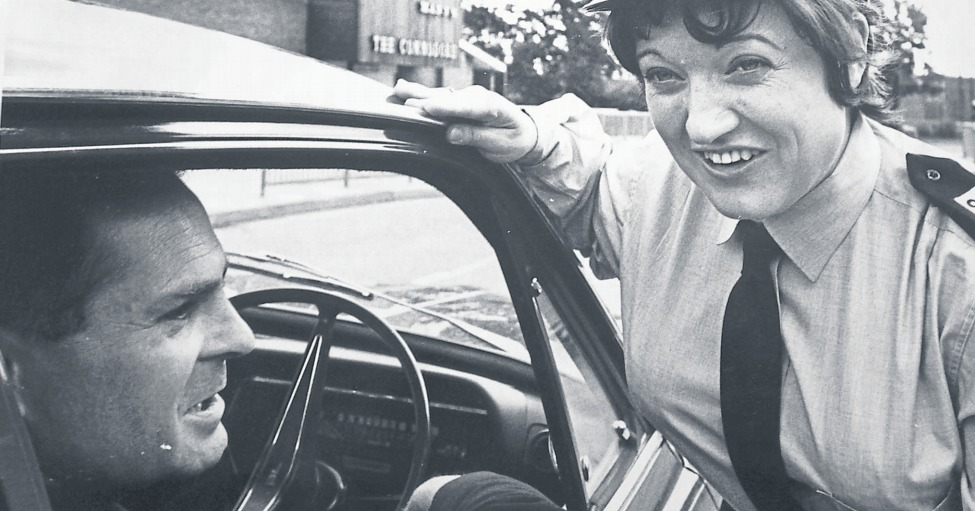First lady - Basildon's first traffic warden, Betty Morriss, photographed in June 1970