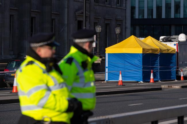 Police tents outside Fishmongers' Hall, on London Bridge