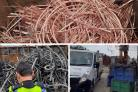 The stripped down, stolen rail cables found by British Transport Police in Essex