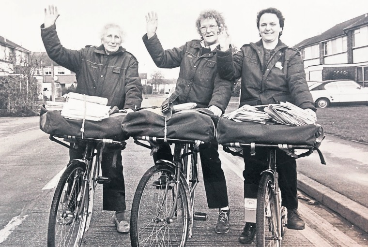 On their bikes - a trio of postwomen from Great Wakering wave at our photographer in 1989