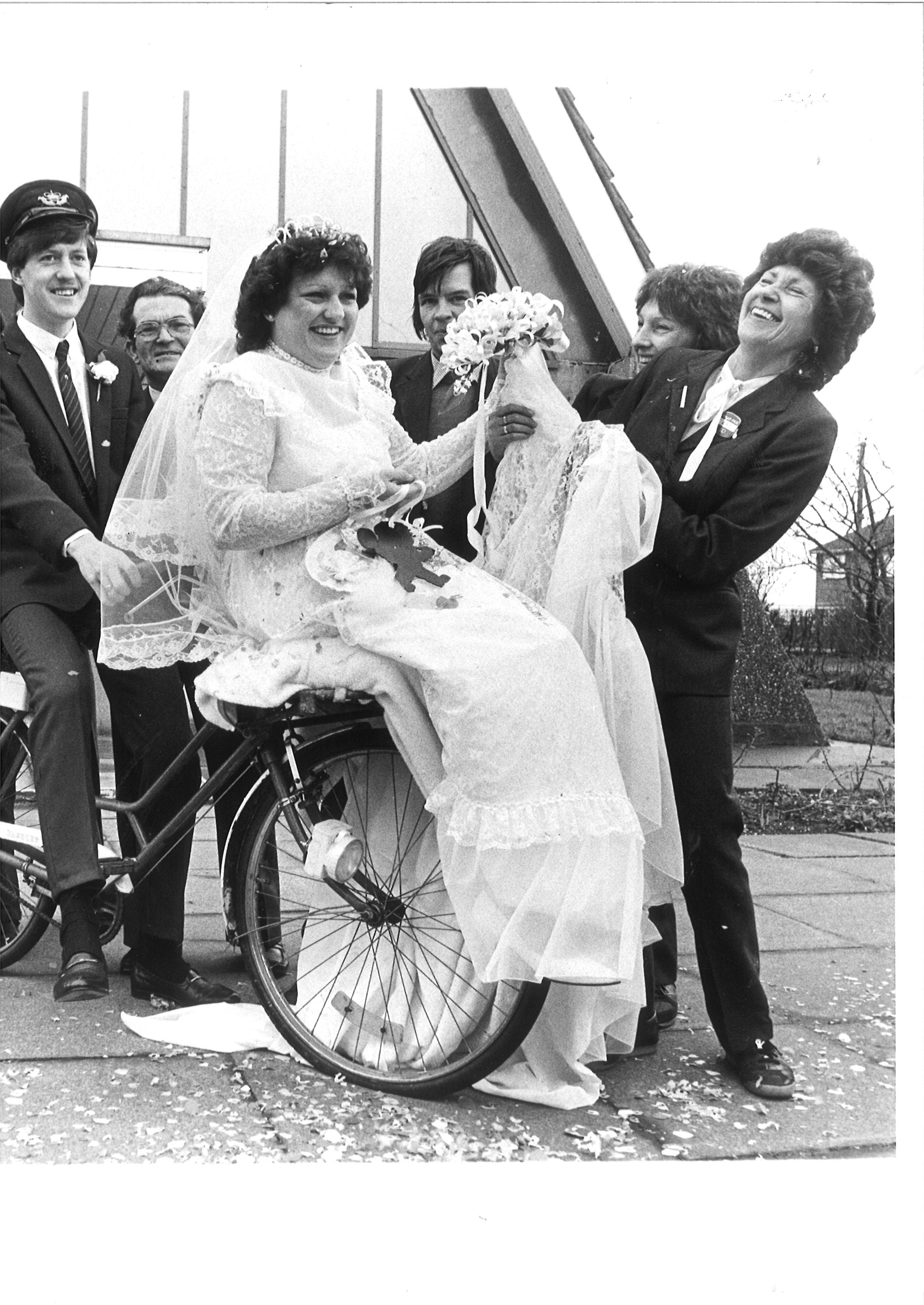 Happy - Colin May married Jane Stanlake at St Nicholas Church, Canvey, in February 1984 and he emerged from the church to find his fellow posties had formed a surprise guard of honour with their bicycles