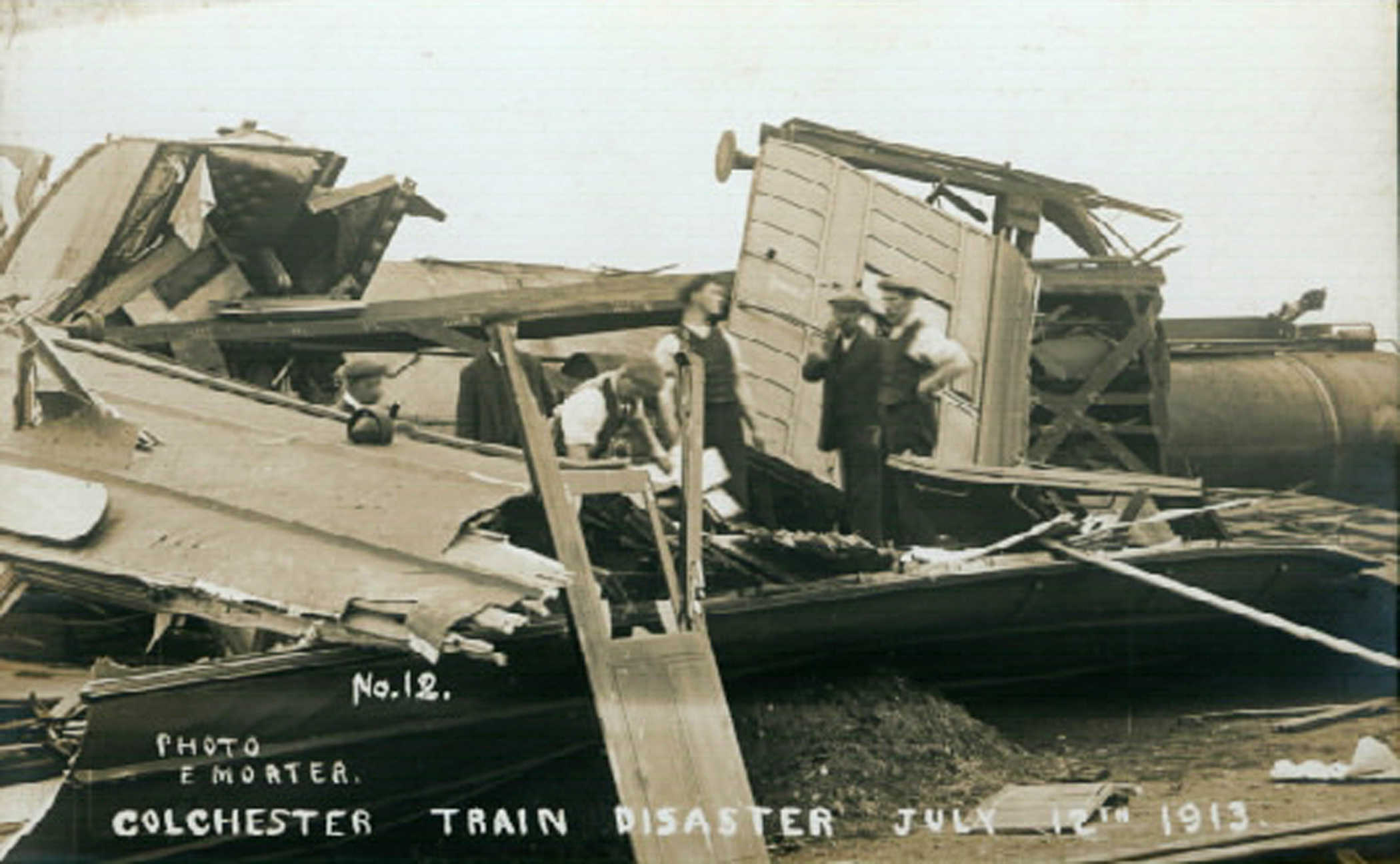Disaster - this photograph shows the aftermath of the train crash which took place in Colchester on July 12, 1913
