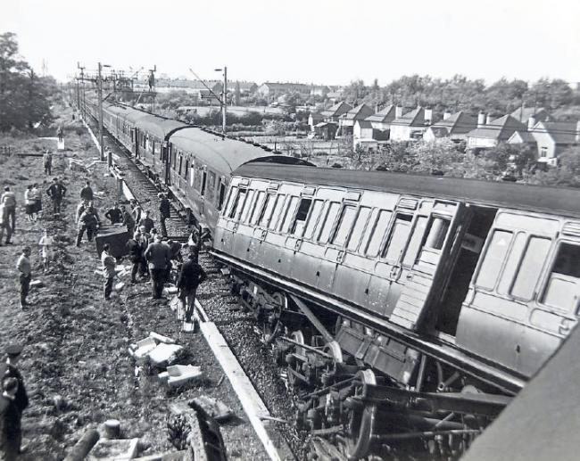 Disaster - the April 1961 crash took place after derailing close to Pitsea station