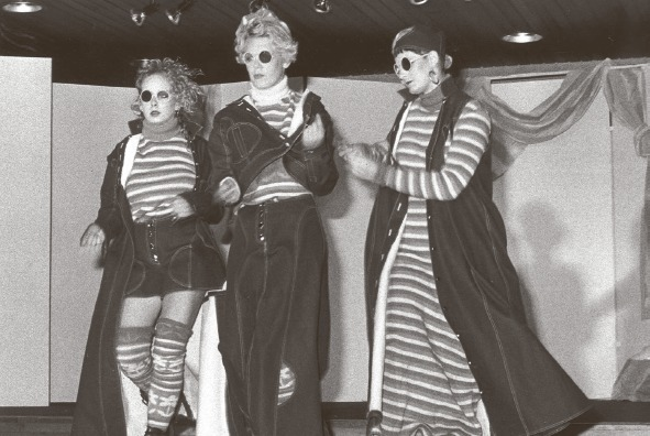 Shades - models from Southend College's 1985 fashion show don unique eyewear