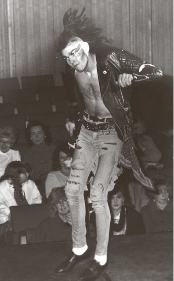 Animated - a male model performs for the crowd at a show in Southend in 1986