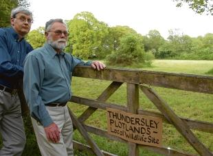 Fighting against development – last week Castle Point councillors backed David Hurrell and Barry Brazier in their campaign to prevent houses being built on this land at Thundersley